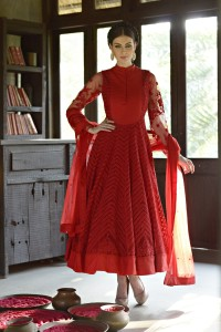 Ethnic Dukaan.com_Maroon Kalidar Anarkali with Resham Embroidery