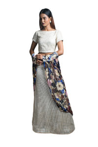 Pic 1- White lace Skirt with a matching separates and a Floral Scarf